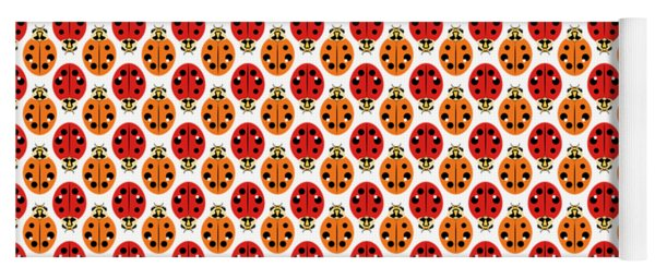 Ladybug Pattern In Orange And Red Yoga Mat