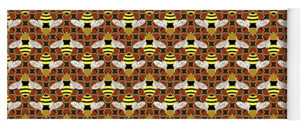 Bees And Honeycomb Pattern Yoga Mat