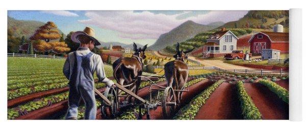 Appalachian Folk Art Summer Farmer Cultivating Peas Farm Farming Landscape Appalachia Americana Yoga Mat