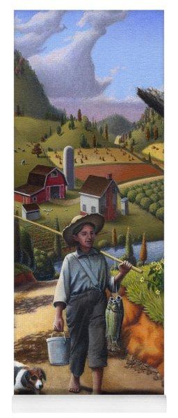 Boy And Dog Farm Landscape - Flashback - Childhood Memories - Americana - Painting - Walt Curlee Yoga Mat