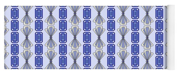 Purple Tanzanite Deco Stripe Yoga Mat