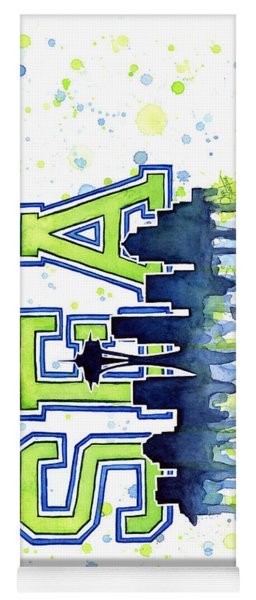 Seattle Watercolor 12th Man Art Painting Space Needle Go Seahawks Yoga Mat
