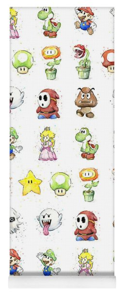 Mario Characters In Watercolor Yoga Mat