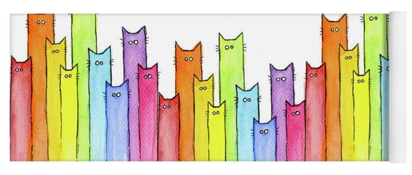 Cat Rainbow Watercolor Pattern Yoga Mat