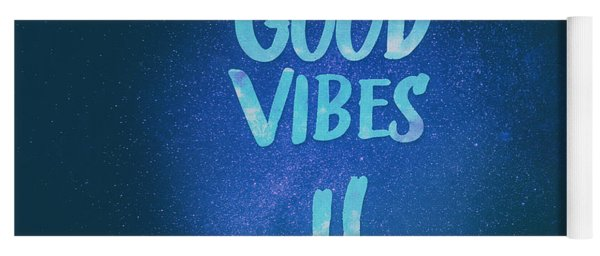 Good Vibes  Funny Smiley Statement Happy Face Blue Stars Edit Yoga Mat