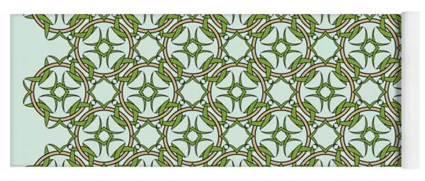 Celtic Knot Interlocking In Green And Gold Yoga Mat