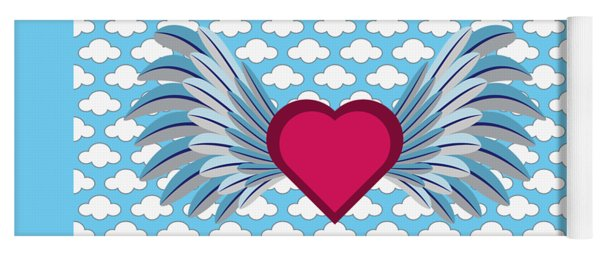 Winged Heart In A Cloudy Blue Sky Yoga Mat
