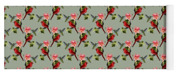 Cardinal On Ivy Branch With Hummingbird And Pink Lily Yoga Mat