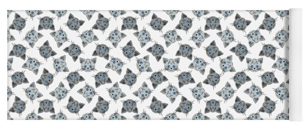 Cute Gray Tabby Cat Face Yoga Mat