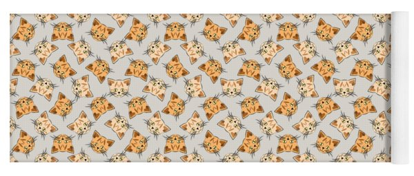 Cute Orange Tabby Cat Face Yoga Mat