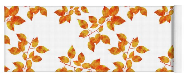 Black Cherry Pressed Leaf Art Yoga Mat
