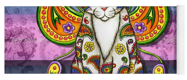 Rainbow Paisley Fairy Cat Yoga Mat