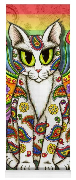 Rainbow Paisley Fairy Cat Yoga Mat