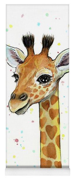 Baby Giraffe Watercolor With Heart Shaped Spots Yoga Mat