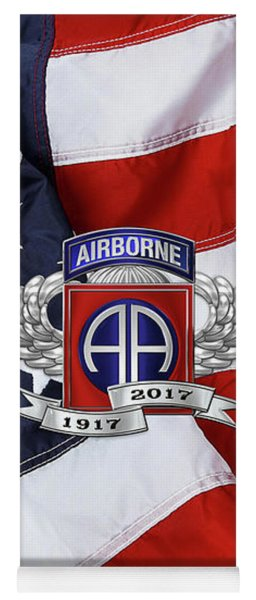 82nd Airborne Division 100th Anniversary Insignia Over American Flag  Yoga Mat