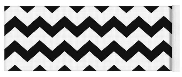 Black White Geometric Pattern Yoga Mat