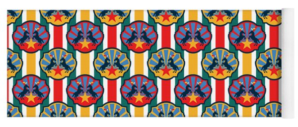 Plumed Circus Ponies Gold Star On Red Yoga Mat