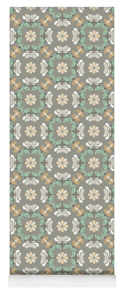 Folk Art Inspired Chrysanthemums In Muted Hues Yoga Mat