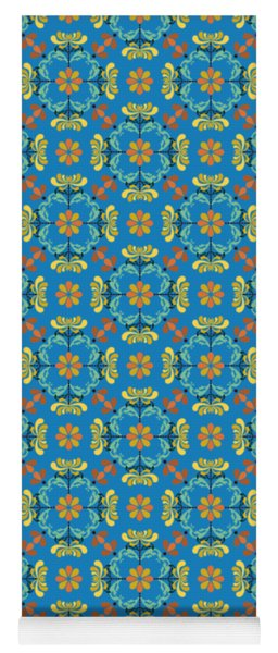 Folk Art Inspired Chrysanthemums Yellow And Orange Yoga Mat