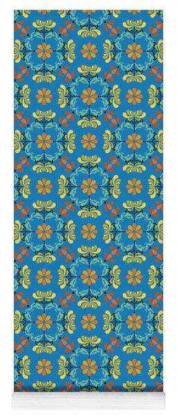 Folk Art Inspired Chrysanthemums Yellow And Orange Yoga Mat
