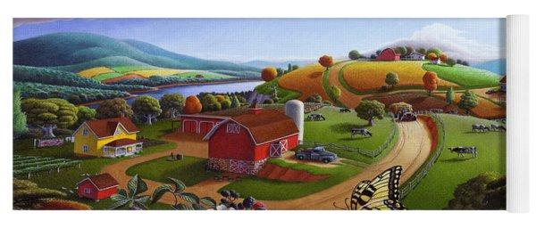 Folk Art Blackberry Patch Rural Country Farm Landscape Painting - Blackberries Rustic Americana Yoga Mat