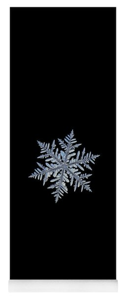 Yoga Mat featuring the photograph Real Snowflake - Silverware Black by Alexey Kljatov