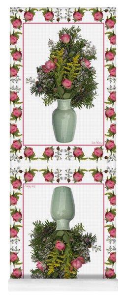 Celadon Vase With Goldenrod Yoga Mat