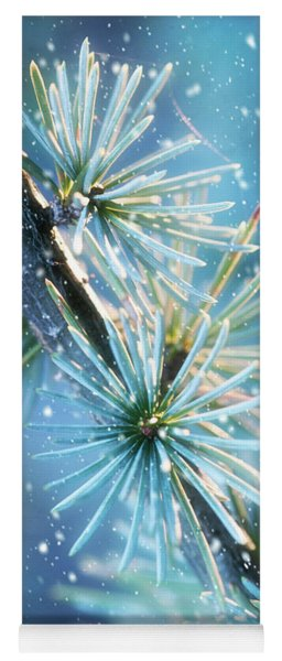 Blue Atlas Cedar Winter Holiday Card Yoga Mat