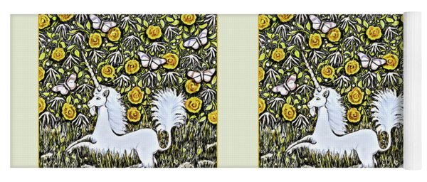 Unicorn With Yellow Flowers And Butterflies Yoga Mat