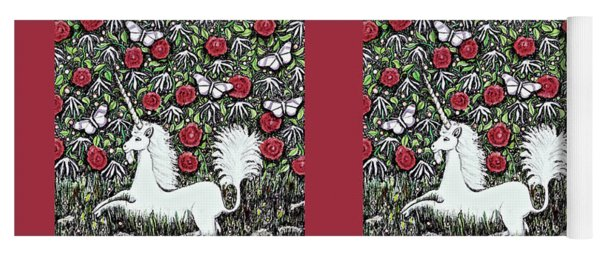 Unicorn With Red Roses And Butterflies Yoga Mat