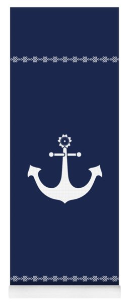 Anchor With Knot Border In White Yoga Mat