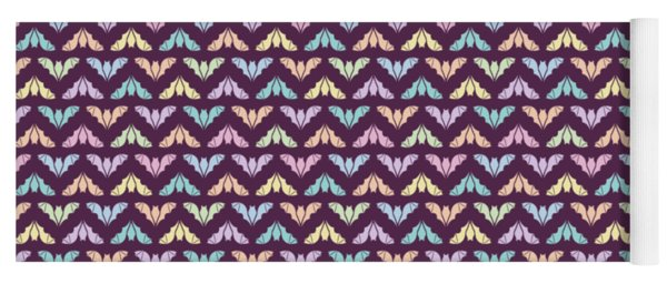 Flying Bats Pattern In Pale Colors Yoga Mat