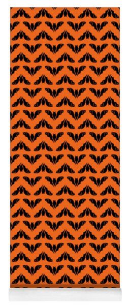 Flying Bats Pattern Black Yoga Mat