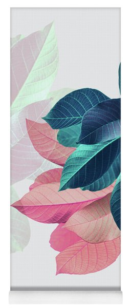 Pink And Blue Leaves Yoga Mat
