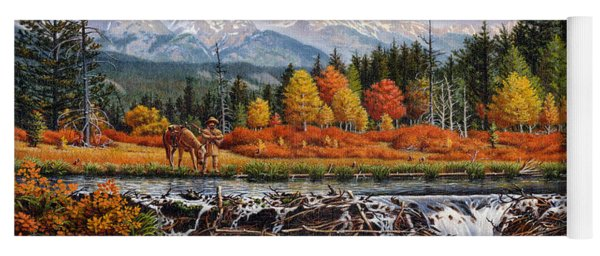 Western Mountain Landscape Autumn Mountain Man Trapper Beaver Dam Frontier Americana Oil Painting Yoga Mat