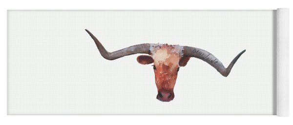 On The Level Texas Longhorn Watercolor Painting By Kmcelwaine Yoga Mat