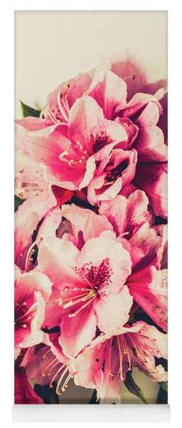 Asian Floral Rhododendron Flowers Yoga Mat