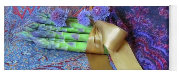 Yoga Mat featuring the photograph Asparagus And Cornflowers, Garden Blessings by Nancy Lee Moran