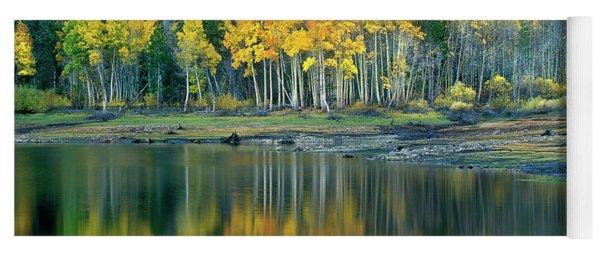 Aspens In Fall Color Along Lundy Lake Eastern Sierras California Yoga Mat