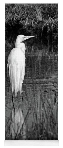 Assateague Island Great Egret Ardea Alba In Black And White Yoga Mat