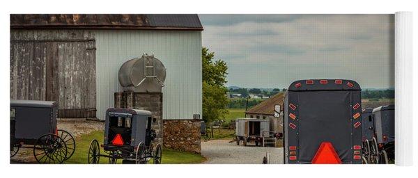 Assorted Amish Buggies At Barn Yoga Mat