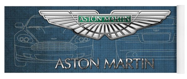 Aston Martin 3 D Badge Over Aston Martin D B 9 Blueprint Yoga Mat