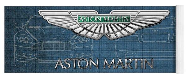 Aston Martin 3 D Badge Over Aston Martin D B 9 Blueprint Yoga Mat