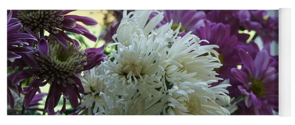 Astras And White Chrysanthemum. Yoga Mat
