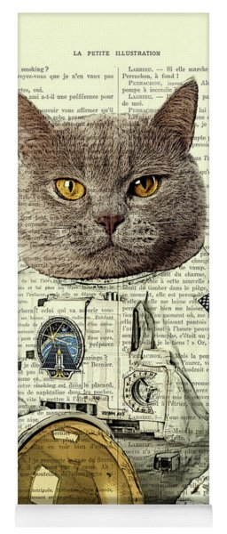 Astronaut Cat Illustration Yoga Mat