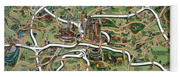 Atlanta Cartoon Map Yoga Mat