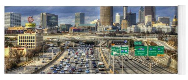 Fleeing South Atlanta Cityscape Skyline Yoga Mat