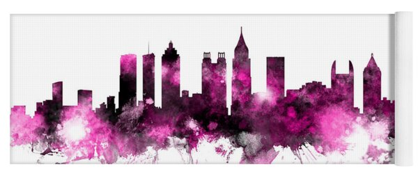 Atlanta Georgia Skyline Pink Yoga Mat