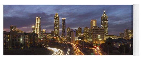 Atlanta Night Lights Sunset Cityscape Skyline Art Yoga Mat