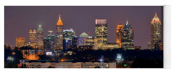 Atlanta Skyline At Night Downtown Midtown Color Panorama Yoga Mat